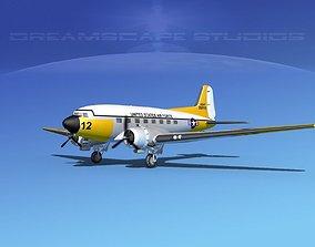 3D model Douglas C-47 Dakota USAF V02