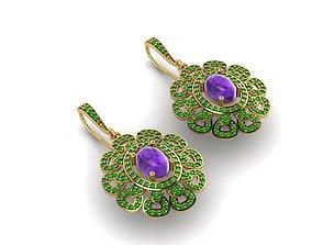 gem 3D print model Flower Earrings