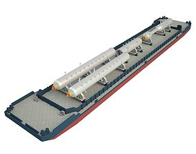 3D asset Cargo Barge Oil Refinery