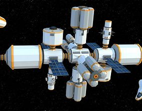 RT3D Lowpoly Space Station game-ready