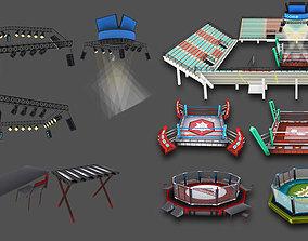 Cartoon Boxing Arena 3D asset