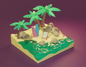 Tropical Island 3D asset low-poly