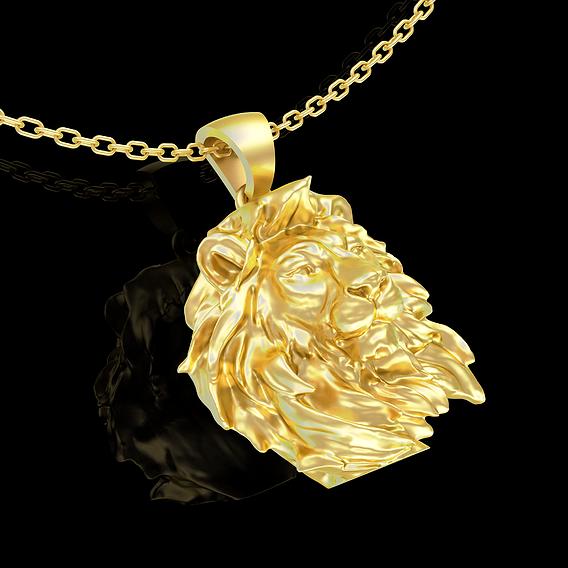 Lion sculpture pendant jewelry gold