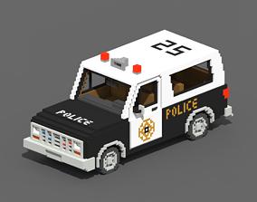 Voxel Police SUV 3D asset