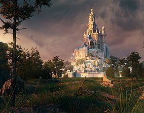 Forest fantasy castle scene middle age manor moutain 3D 2