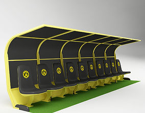 3D model Soccer Bench for Coach Reserve Players 03