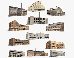 12 Factory Collection Low-poly 3D model industrial