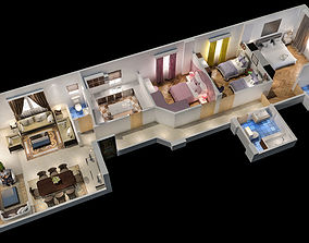 appartement 3d floor plan rigged realtime
