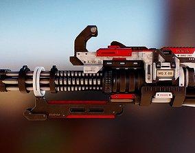 3D asset Futuristic Minigun