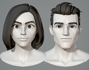Male and female cartoon characters base mesh 3D model