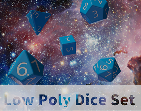 3D asset VR / AR ready Blue Plastic Dice Set