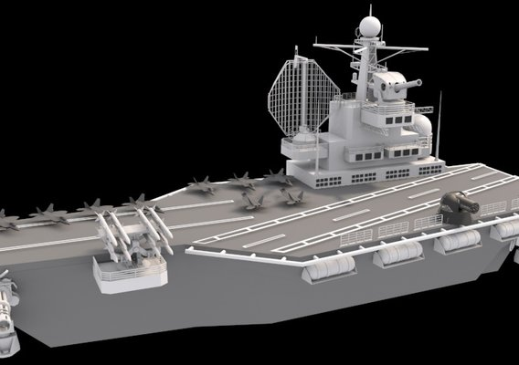 aircraft carrier low poly 3d model without texture