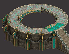 Staircase round platform - temple hall 3D