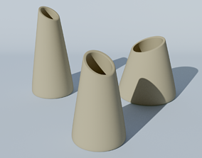 Set of 3 decoration vases for flowers for 3d print