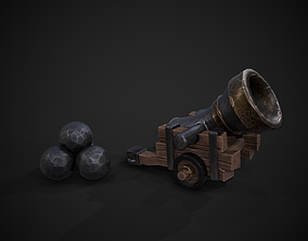 Stylized Cannon with Ball 3D model