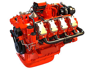 3D Diesel Engine of 8 Cylinder Power Generation