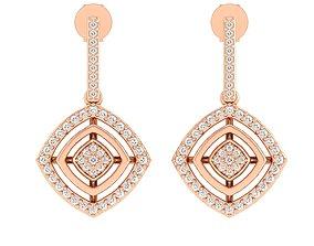 Women Square Earrings 3dm stl render detail gold