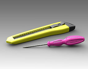 3D model Stationery knife and screwdriver 11