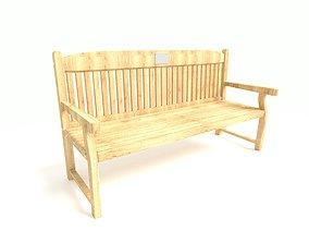 3D asset Wooden Bench - Oak