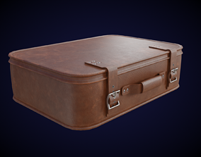 Classic Leather Suitcase 3D asset