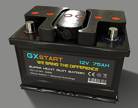 3D asset PBR Car Battery - Black