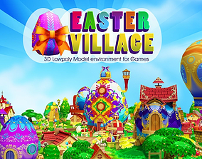3D Cartoon Easter Village animated