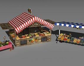 3 market stands 3D
