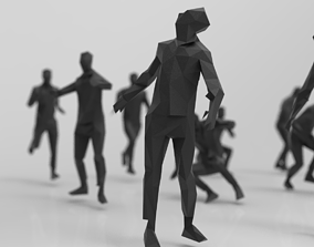 lowpoly posed man various actions pack - 21 pcs 3D