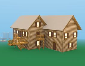 3D asset Modular Wooden Cottage