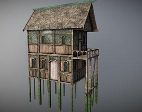 3D model Medieval lake village - House 2