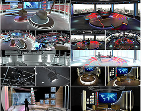 Virtual TV Studio Chat Sets Collection 12 3D model