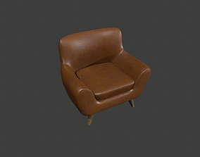 Brown Leather Armchair 3D asset