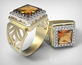 Golden Massive ring with fire opal 3D print model