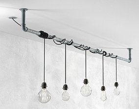 design 3D Industrial Hanging Light Bulbs