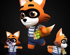 Cute Cartoon style Fox rigged and animated for 3D asset 1