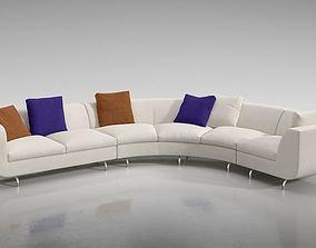 3D model Curved Sofaset Furniture