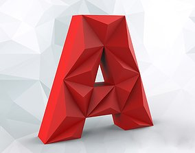 building Lowpoly letter A 3D printable model