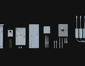 3D asset low-poly electrical box collection