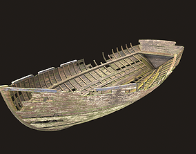 3D model game-ready Destroyed wooden boat