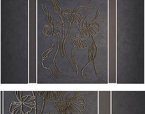 Decorative panel flowers 3D asset