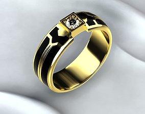 gold-ring Black Enamel Golden Ring 3D printable model