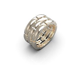 Stripes ring 3D print model jewelry