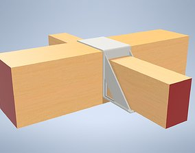 3D model Wooden beam console - double