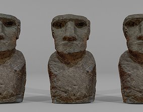 3D asset Easter Island Stone Figure 3 in 1