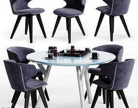 Varaschin KLOE Chair and LINK Table 02 3D asset