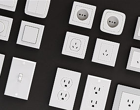 3D model Power outlets and Lights Switches Pack