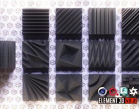 Acoustic Panels Kitbash Pack 3D model game-ready