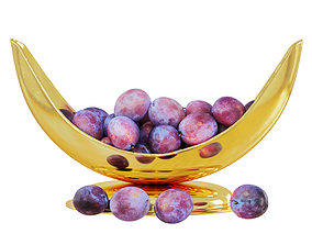 3D Plums in a Beautiful Golden Vase