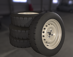 3D asset game-ready Wheel stamped