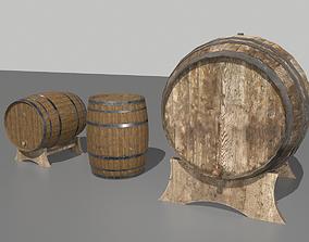 Old Wooden Barrels 3D model